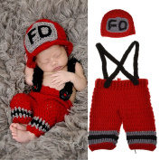 Baby Photography Props Handmade Crochet Knit Fireman Caps Pants Photo Costume Prop