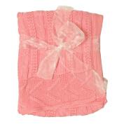 Little Beginnings Girls Cable Knit Blanket
