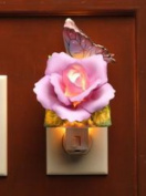 Lavender Rose with Yellow and Pink Butterfly Plug In Night Light