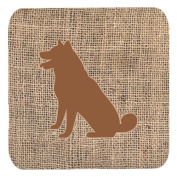 Set of 4 Shiba Inu Burlap and Brown Foam Coasters