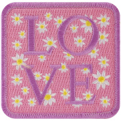 Tees & Novelties PATCH-2078 Patch for Everyone Iron-On Appliques, Pink Love with Daisies Multi-Coloured