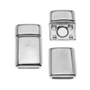 Antiqued Silver Plated Smooth Rectangle Magnetic Clasp For Regaliz 10mm Flat Cork Cord - 1 Set