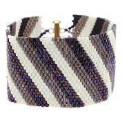 Diagonal Striped Peyote Bracelet (Prpl/Crm) - Exclusive Beadaholique Jewellery Kit