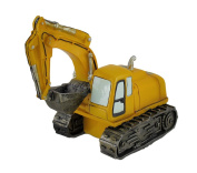 Bright Yellow Construction Excavator Truck Sculptural Coin Bank