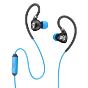 JLab Fit FIT2-BLKBLU-BOX 2.0 Sport Earbuds, Sweatproof, Water Resistant with In-Wire Customizable Earhooks, Guaranteed Fit, Guaranteed for Life - Black/Blue