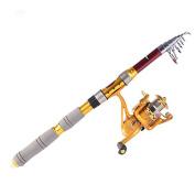 Ryask(TM) UK Hybrid carbon Pesca 2.1M 6.89FT Portable Telescope Fishing Rod Travel Spinning Fishing Pole