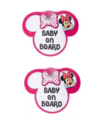 Disney Pink Minnie Mouse Baby On Board Car Signs - 2 Pack