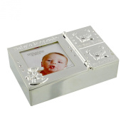 Silverplated Baby Keepsake Box With First Tooth & Curl