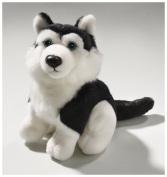 Soft Toy Husky black sitting, 16cm. [Toy]
