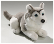 Soft Toy Husky grey lying, 16cm. [Toy]