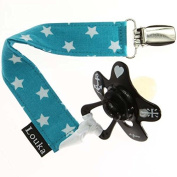 Louka Pacifierclip petrol wihite stars - fabric soother chain, baby boy or girl, Fits ANY pacifier, holder is handmade !