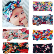 Baby Girl Turban Headband Kids Hair Bows Cross Knot Hair Clips for Babies 6pcs