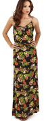 Pretty Ladies Tropical Floral Print Strappy Maxi Dress with Button Front, Black
