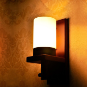 Chinese American wood wooden hall living room modern minimalist bedroom bedside lamp wall lamp aisle stairs wall balcony