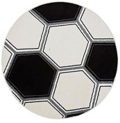 White Football Glow in The Dark, Circular Rug 100 x 100 cm
