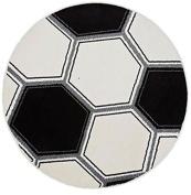 White Football Glow in The Dark, Circular Rug 100 x 100 cm