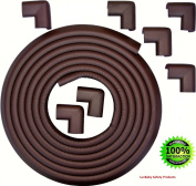 Table Edge Corner Protector, Bumper Guard, Rubber 5.5m Long with 8 Corner Cushions, Safety for Edges & Corners, Child & Baby-Proofing Protection, Extra Soft & Flexible for Easy Installation, Coffee