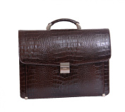 Mens Leather Briefcase David combination lock Luxury Italian Brown Croc Laptop bag