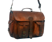 38cm SERGUIO ROGETTI HANDCRAFTED MESSENGER OFFICE BRIEFCASE LUCHINI DESIGNER RETRO CHIC RUSTIC LEATHER LAPTOP SATCHEL BAG