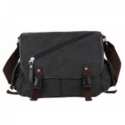 iTECHOR Men's Fashion Canvas Cross Body Bag Flip Over School Bag Satchel Messenger Shoulder Bag