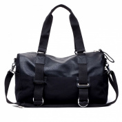 iTECHOR Simple Fashion Bussiness Men PU Leather Handbag Tote Shoulder Bag Travel Bag - Black