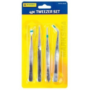 4 Piece Craft/Jewellery Tweezer Set by Marksman