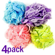Bath Blossom Shower Sponge Pouffe Large 60 Grammes 4 Pack Loofah Luffa - For Body Wash, Back And Body Scrubber - Exfoliate, Cleanse And Soothe Skin - Suitable For Men And Women