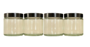 Pack of 4 x 120ml Clear Glass Cosmetic Jars with Black Lids. Suitable for Aromatherapy, Creams, Gels, Serums, Wax, Ointments etc