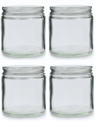 Pack of 4 x 120ml Clear Glass Cosmetic Jars with Aluminium Lids. Suitable for Aromatherapy, Creams, Gels, Serums, Wax, Ointments etc