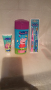 Peppa Pig 3 Piece Bathroom Gift Set - Bath and Shower Gel, Toothpaste & Twin Pack Toothbrushes Set