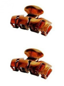 Set of 2 Pretty Brown or Tort Brown Hair Claw Clamp Clip Fast Ship Unique Bull Dog Design