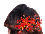 Bluelans® Women's Bridal Wedding Red Flower Diamante Crystal Rhinestones Pearls Hair Clip