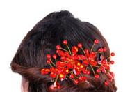 Bluelans® Women's Bridal Wedding Red Flower Diamante Crystal Rhinestones Pearls Hair Clip