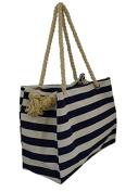 Womens Fashion Nautical Beach Striped Canvas Shoulder Bag Tote Handbag Messenger Bag
