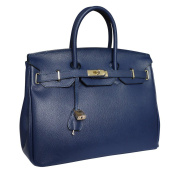 Carbotti Classico Leather Grab Shoulder Handbag Celebrity Bag - Dark Blue