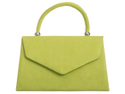 Lime Grab Bag, Faux Suede Green Evening Bag, Small Envelope Top Handle Handbag, Ladies Claret Red Bag