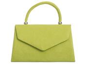 Lime Grab Bag, Faux Suede Green Evening Bag, Small Envelope Top Handle Handbag, Ladies Claret Red Bag