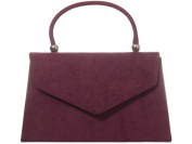 Burgundy Grab Bag, Faux Suede Wine Coloured Evening Bag, Small Envelope Top Handle Handbag, Ladies Claret Red Bag