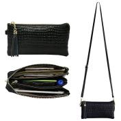 Belfen Soft Leather Wristlet Phone Wristlet Wallet Clutch Smartphone Cross Body Wallet with Exquisite Tassels/ Card slots/Shoulder strap/Wrist Strap-for Phone Up to 6 x 3.1*0.8cm -Black