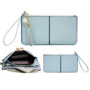 Belfen Soft Leather Wristlet Phone Wristlet Wallet Clutch Tassels Wristlet with Exquisite Tassels /Wrist Strap / Card slots/ Cash pocket- Fit iPhone 6 Plus-Powder Blue