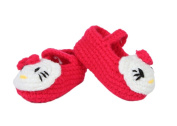 Scheppend Soft Handmade Knit Unisex Baby Infant Cute Cat Prewalker Shoes,Plum Red