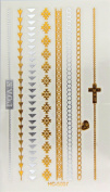 Super Metallic Gold Silver Black Jewellery Temporary Bling Tattoo 1 Sheet Pack