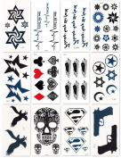 Bbei Temporary Tattoo Stickers Body Art, Most Fashionable Designs, 12 Sheets in One Pack, Skull, Gun, Button, etc.
