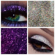 Glitter Eyes Duo Set 6 - Violet & Silver Holographic Eye Shadow Fixing gel Long Lasting