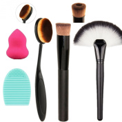 Tinabless 3pcs Makeup Brushes Set + Makeup Sponge Puff + Cleaning Brush Egg - Beauty Cosmetics Tools 5pcs Make Up Brushes Kit - Professional Makeup Brush for Liquid Foundation, Face Powder, Contour and Highlight, Concealer, BB Cream, Blending, Blush