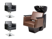 2 x Styling Chair + 1 Wash unit PIAZZA Barber set, Backwash multicoloured (2+1)