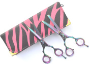 Titanium Hair Cutting AND Hair Thinning Scissors Set, 14cm With Case