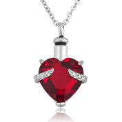 Red Birthstone Heart Ashes Pendant Necklace Cremation Jewellery Urn Memorial