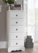 Romance 5 Drawer Tallboy, Antique White Narrow Chest of drawers, FULLY ASSEMBLED