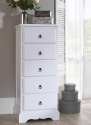 Romance TRUE White 5 Drawer Tallboy, Quality FULLY ASSEMBLED chest of drawers